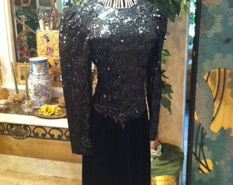 Holiday sale**** Cachet Design Black Sequin on Velvet  Cocktail dress
