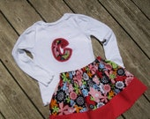 Girl's Toddlers Skirt and Shirt Outfit - Bright Modern Floral With Letter Applique Shirt