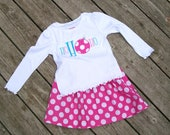 Girl's Twirl Skirt  and Long Sleeve Shirt Outfit - Pink Aqua and White Polka Dot Christmas Ho Ho Ho Shirt