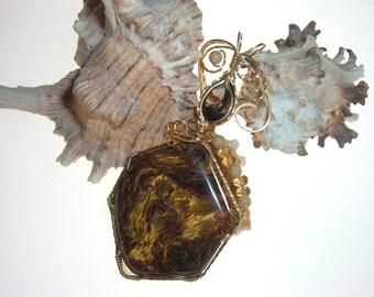 Pietersite, Smoky Quartz and Citrine Wire Wrapped Gold Pendant