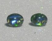 Vintage Blue Green Fire Opal Oval Stud Earrings