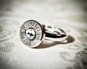 Simplistic Bullet Ring -Gunpowder and Glitz- Nickel and Crystal