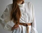 Creamy Button Collar Blouse Vintage 60s
