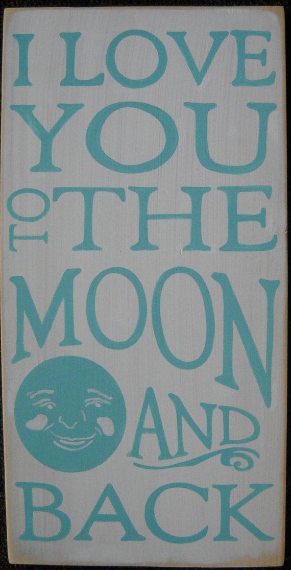 I Love You To the Moon And Back Sign Plaque Wall Home Decor Nursery Kids Room Gift New Baby Wooden