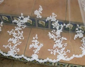 "Manitlla veil /oval cut 108"" length/ Alencon Lace/wedding veils/bridal veils/lace veils"