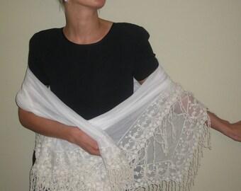 ivory shawl, lace shawl, vintage shawl, wedding shawl