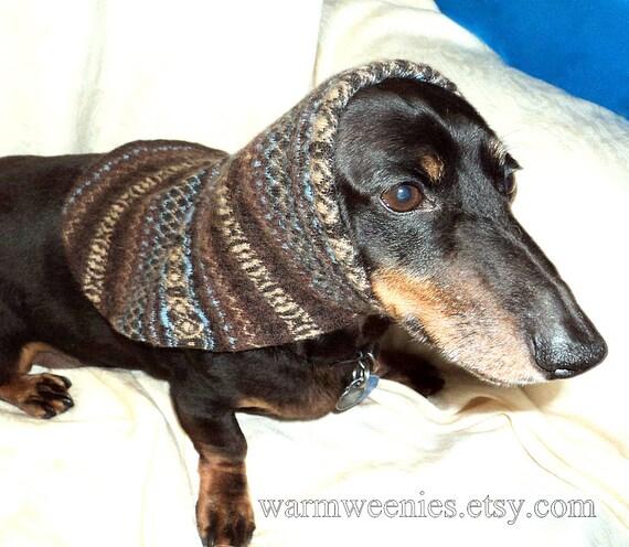 Dachshund snood small dog Italian merino wool Fair Isle handmade pets clothing