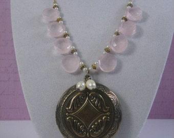 Vintage Style Rose Quartz Locket Necklace