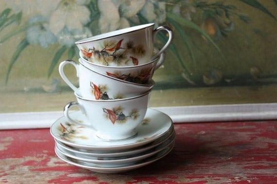 Vintage Tea For Four Tea Cups And Saucers Autumn Style