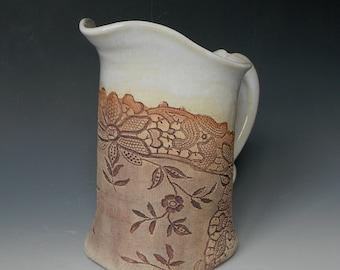 Antique Lace Collar Impressed Ceramic 1 Quart Pitcher