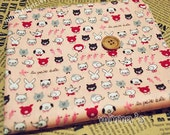 Cotton Fabric - Lovely Animals(salmon pink) - Fat Quarter(29in x 19in) - CF078