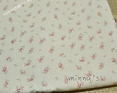 Linen Cotton Blended Fabric - Small Roses And Dots (pink) - Fat Quarter(21in x 19in) - LF162