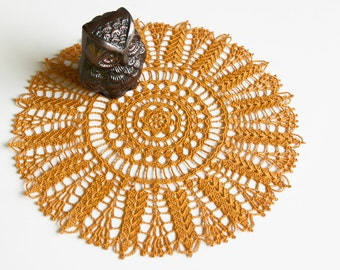 Doily // Hand Crocheted // Autumn Gold // Woodland Hue // Gift for the home // frame for wall decor