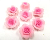 10 Fimo Polymer Clay Pink  Flower Roses  Beads 25mm