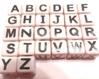 New 103 Black White Ceramic Alphabet Beads A-Z 10mm Size Hole Size 3mm