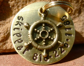 The Skipper (#062) - Unique Handstamped Brass Nautical Helm Pet ID Tag Dog