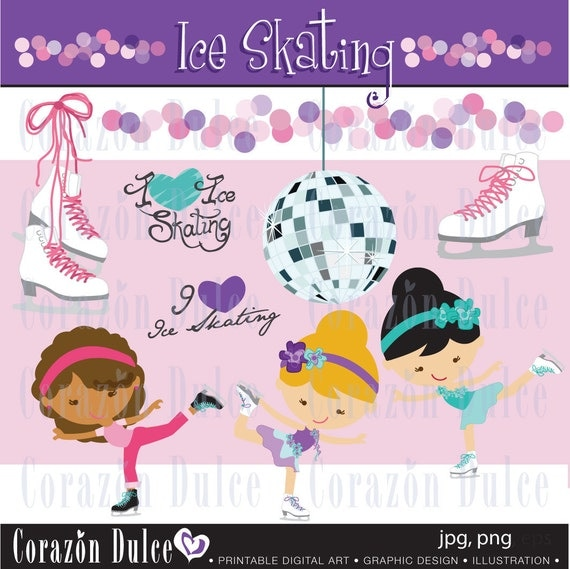 INSTANT DOWNLOAD  Ice skating - Personal and Commercial Use Clip Art
