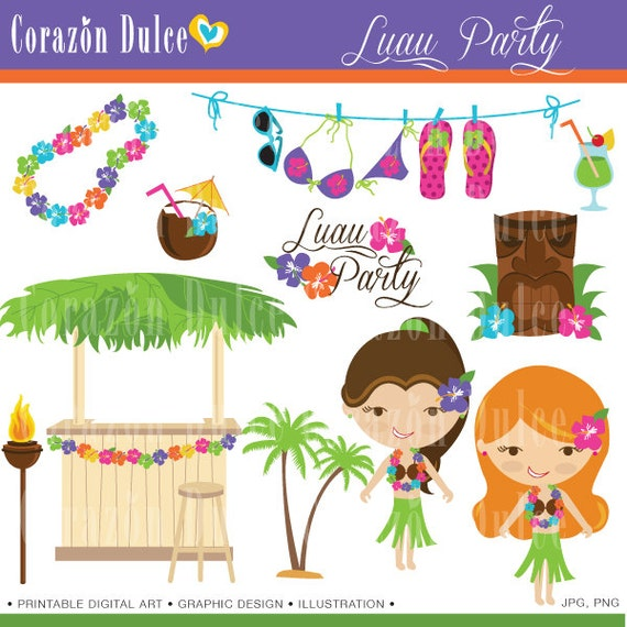 INSTANT DOWNLOAD  Luau Party  -Personal and Commercial Use Clip art-