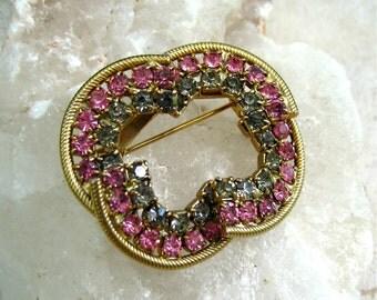 Vintage Rhinestone Brooch Pink Gray Geode Gold Tone