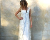 1960s Mod vintage wedding dress - 60s retro long ivory floor length dress - xsmall/small