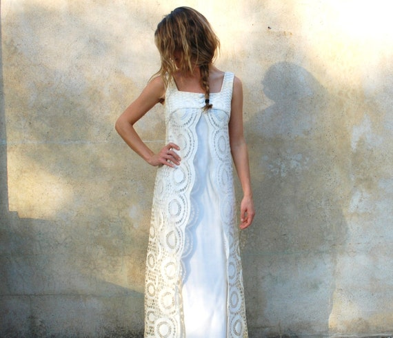 1960s Mod vintage wedding dress - 60s retro long ivory floor length dress - xsmall/small