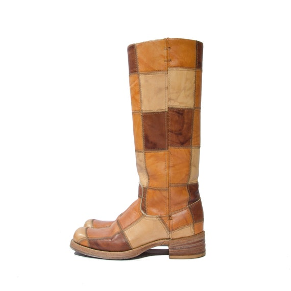 size 7 1/2 Narrow 1970s Vintage Patchwork Leather Campus Boots by Dingo Western Riding Boots w/ Square Toe