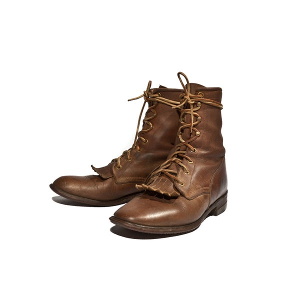 Justin Brown Roper Boots In Lace Up Country Western Style For