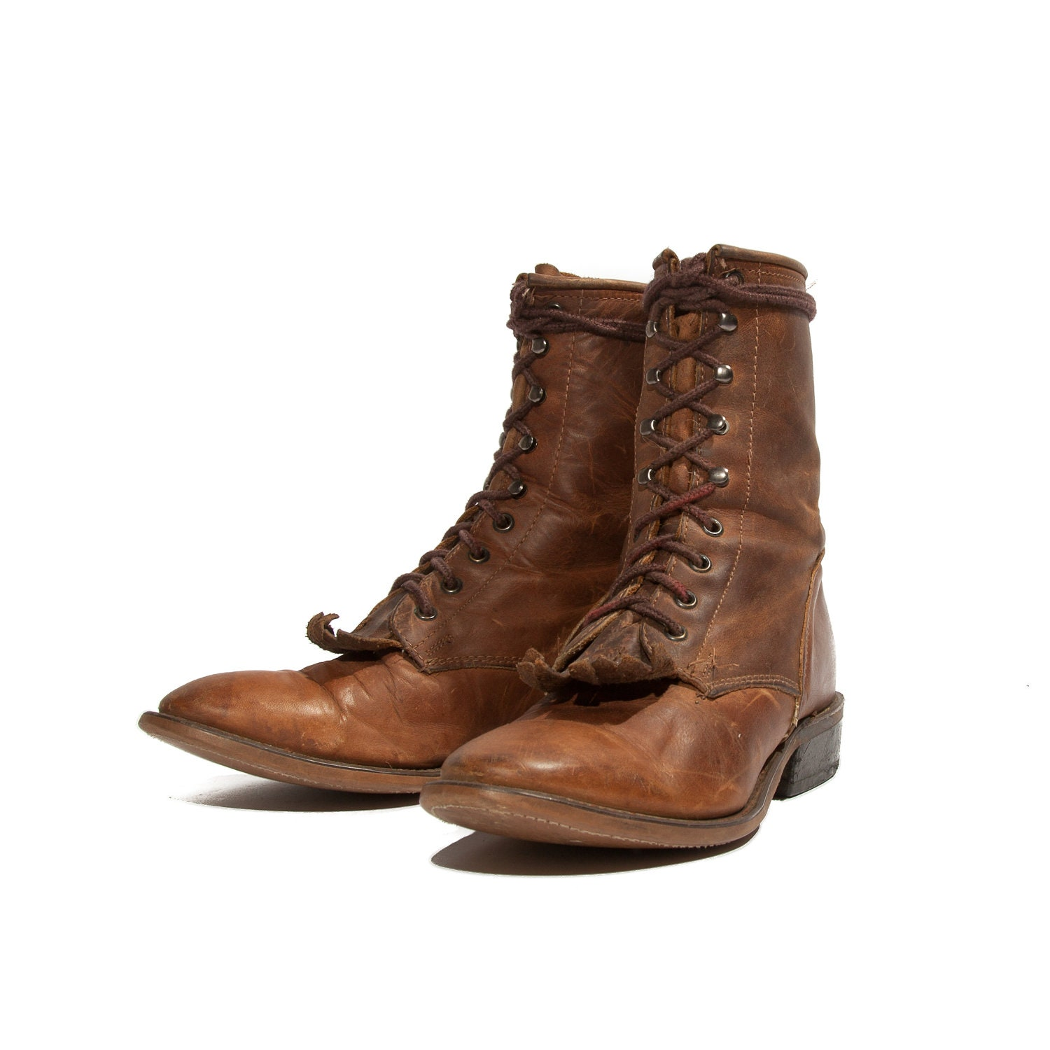 s roper boots lace up cowboy rustic brown for