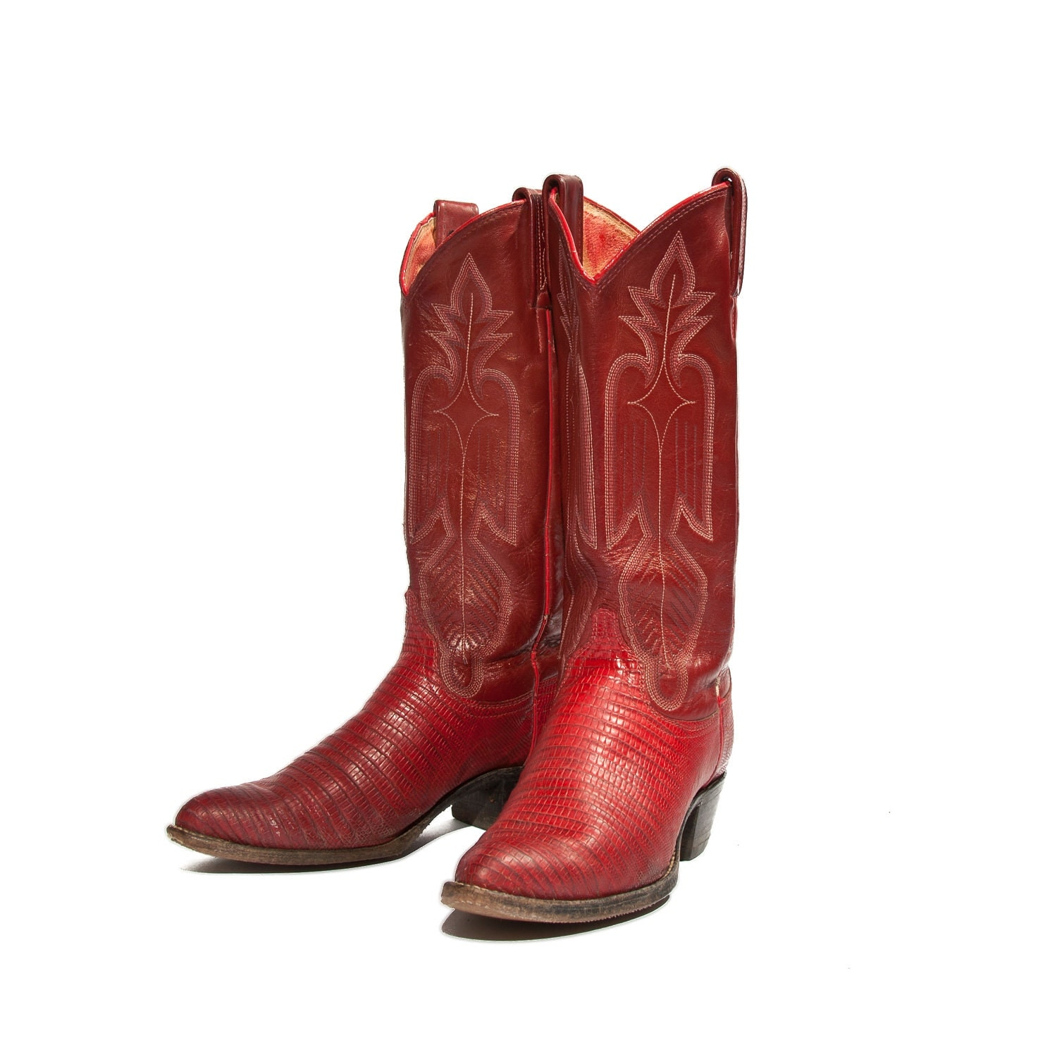 Women S Red Cowboy Boots Lizard And Leather With By