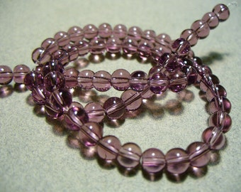 Glass Beads Purple Round 4MM
