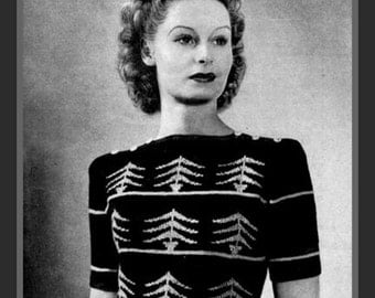 PDF Knitting Pattern - 1940'S Fair Isle Pine Tree/Christmas Tree/ Spruce Tree Jumper - Instant Download