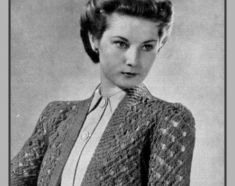 PDF Knitting Pattern for a 1940's Retro Lacy Bolero -Instant Download