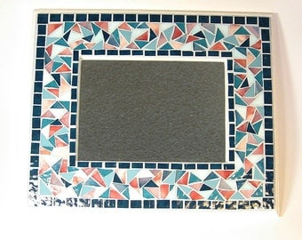 Stained glass mosaic framed mirror teal pink aqua