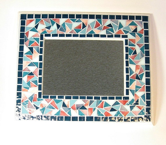 Stained glass mosaic framed mirror teal pink aqua for Teal framed mirror