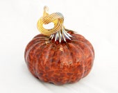Blown Glass Pumpkin Autumn Colors - brown brick red gold table centerpiece harvest holiday luxury CIJ