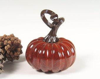 Art Sculpture Glass / Hand Blown Glass Pumpkin / Centerpiece Home Decor / Brown Woodland Burgandy