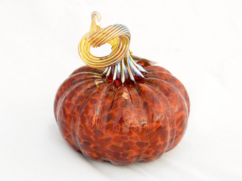 Blown Glass Pumpkin Autumn Colors Brown Brick Red Gold Table