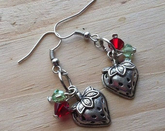 Berry Sweet Strawberry & Swarovski Crystal Earrings