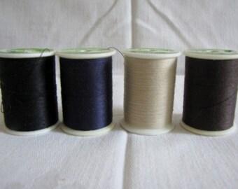 Vintage Sewing Thread Trusew Polyester 200 yds spool Brown Black Beige
