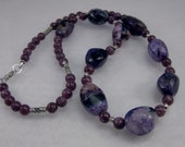 Charoite, purple lepidolite and sterling silver necklace: charity donation