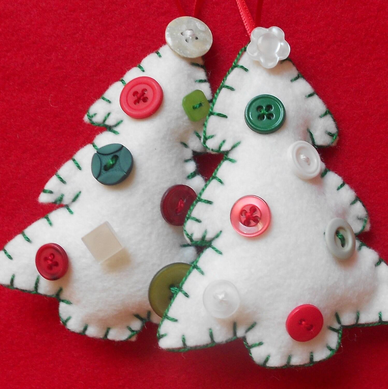 Button Christmas Trees: Two Small White Felt And Button Christmas Trees By