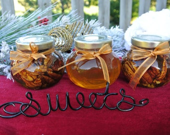 Edible Gifts, Raw Honey,  Hostess Gift, Honey Jar, Nuts With Honey, Wooden Dippers