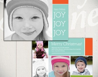 Christmas Card Template: Rejoice D - 5x7 Holiday Card Template for Photographers