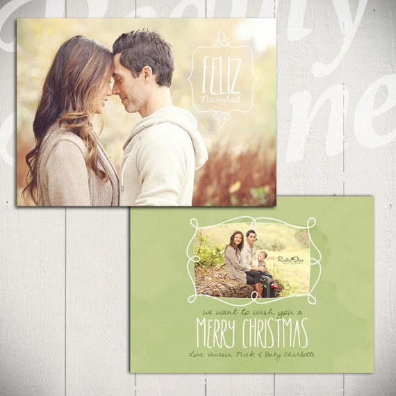 Christmas Card Template: Seasons Greetings B - 5x7 Holiday Card Template for Photographers