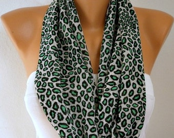 Leopard Print Infinity Scarf, Summer Scarf Animal Chiffon Circle Loop Scarf Cowl Scarf Gift Ideas For Her Women Fashion Accessories