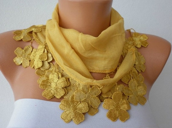 ON SALE - Mustard Scarf  - Cotton  Scarf - Cowl Scarf - Shawl  with Lace Edge  - fatwoman