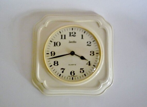 RESERVED - Vintage German Ceramic Wall Clock from Zentra
