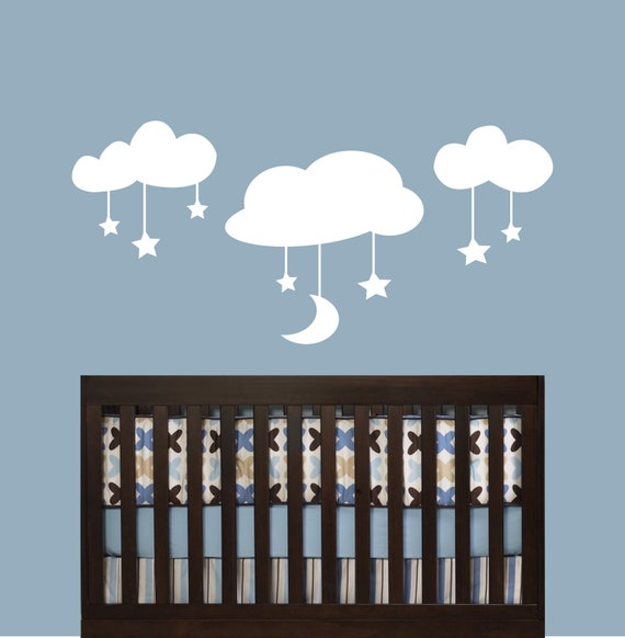 Cloud Decals - Childrens Decor Vinyl Wall Art Clouds Stars and Moon -Childrens wall decal, Nursery wall decal great for a baby nursery