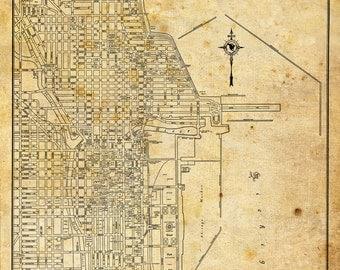 1944 Chicago Street Map Vintage Grunge Print Poster