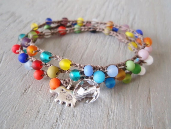Colorful Elephant crochet 3x wrap bracelet necklace anklet 'Circus Elephant' multi color,Thai silver, multi colored wrap, boho beach jewelry